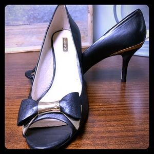 Louise et Cie Black and Gold Peep Toe